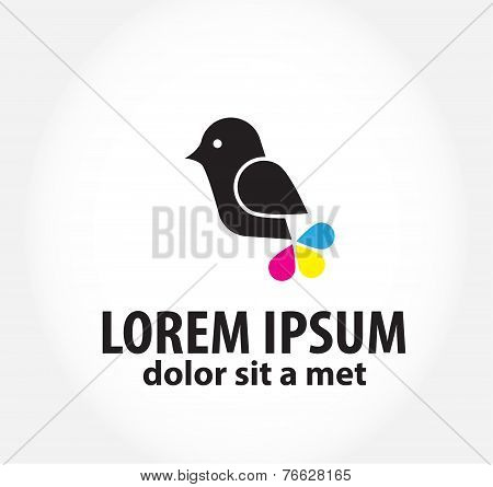 bird logo, logo design template for printing, polygraphy
