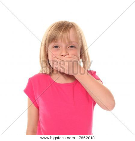 Young Little Girl Covering Mouth