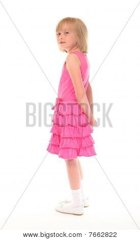Young Little Girl In Pink Dress