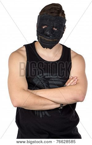 Portrait of the young man in black mask