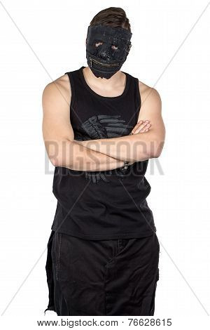 Photo of young man in black mask