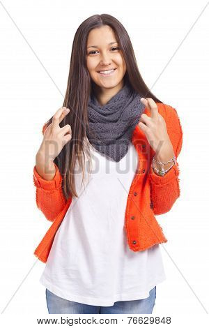 Beautiful Young Woman Snapping Fingers, Over White Background