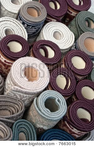 Pile Of Rolled Up Carpets