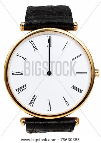 Twelve O'clock On Dial Of Wristwatch Isolated