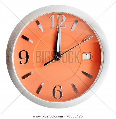 Twelve O'clock On Orange Dial Isolated On White