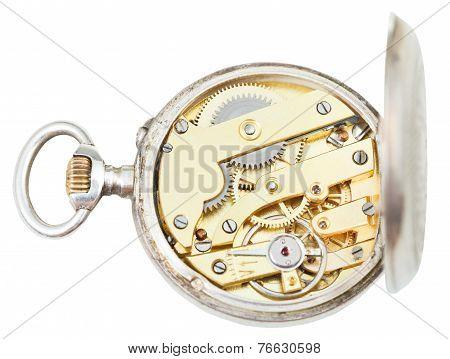 Above View Of Brass Clockwork Retro Silver Watch