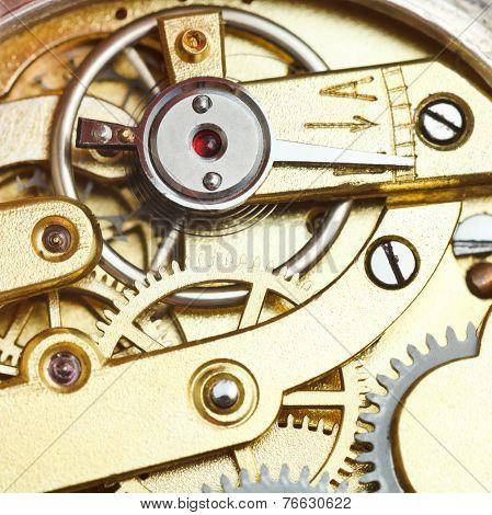 Brass Mechanical Clockwork Of Retro Watch
