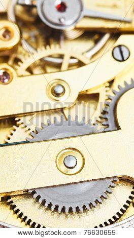 Background From Brass Clockwork Of Vintage Clock