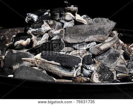 Closeup Of Burnt Charcoal On A Barbeque