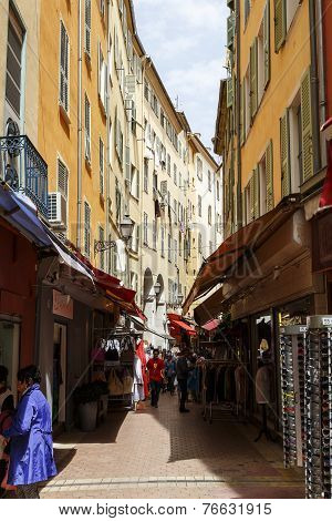 Narrow Street In The Old Town Of Nice In France