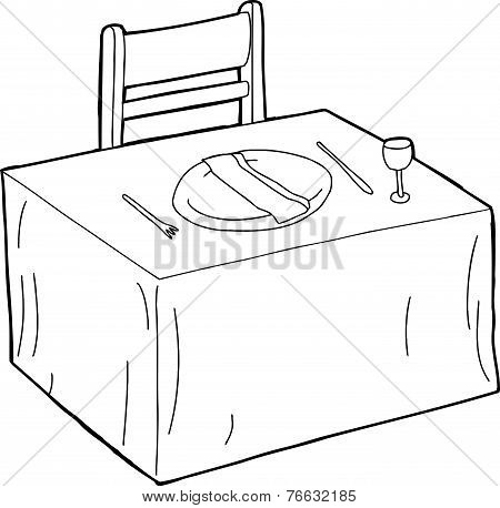Isolated Fancy Table Setting
