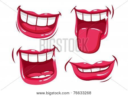 Funny smiles vector set