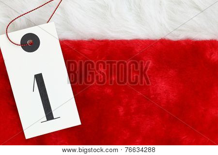 Tag with number one on red fur background