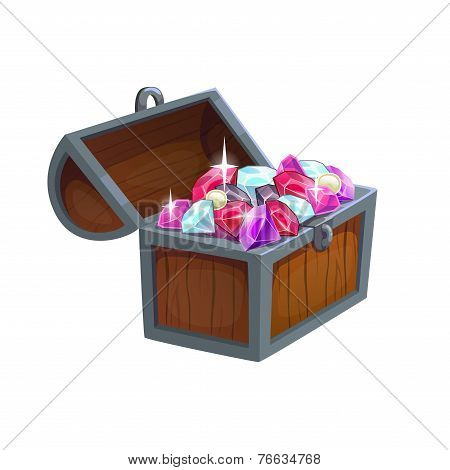 Cartoon wooden chest with diamonds