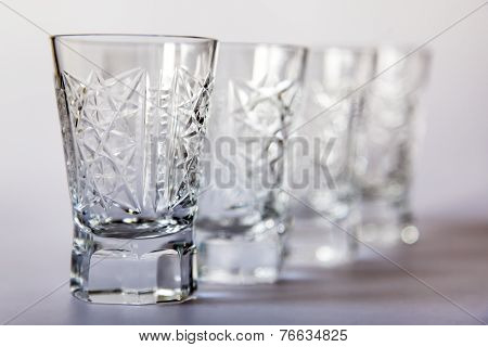 Ware for table layout. Crystal shot glasses