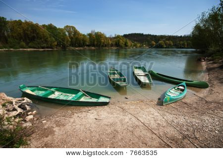 Five Boats In A River
