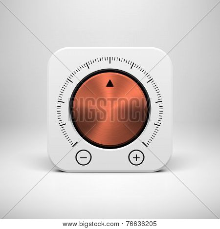 White Abstract Icon With Volume Knob Button