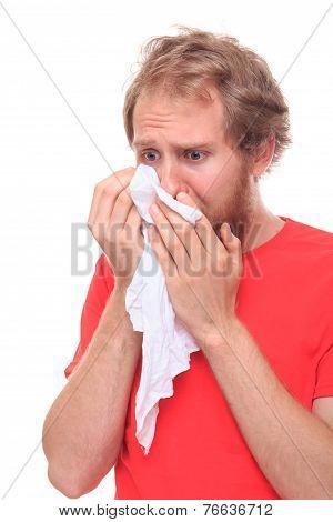 Man Crying Into His Handkerchief
