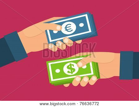 Hands holding money. Currency exchange, transfer and purchasing. Flat design vector illustration.