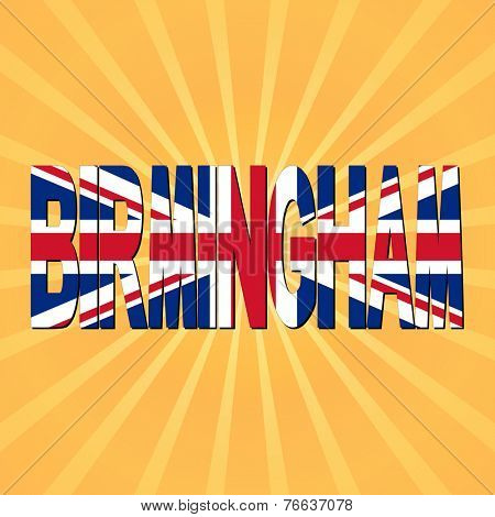 Birmingham flag text with sunburst illustration