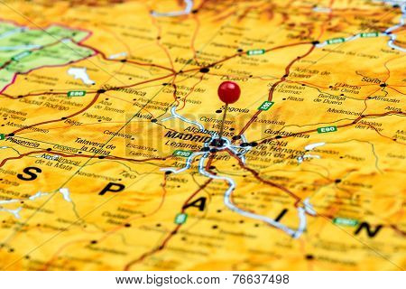 Madrid pinned on a map of europe
