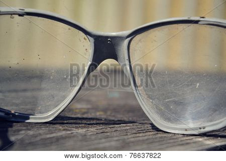 Vintage Glasses On A Wooden Table