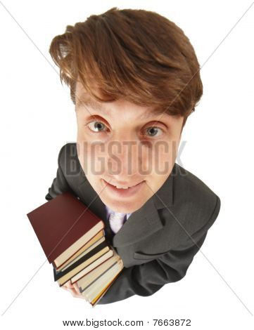 Funny Guy With Pile Of Books