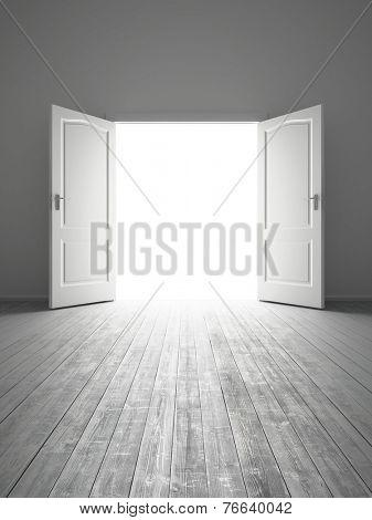 3d rendering the empty white room with opened door