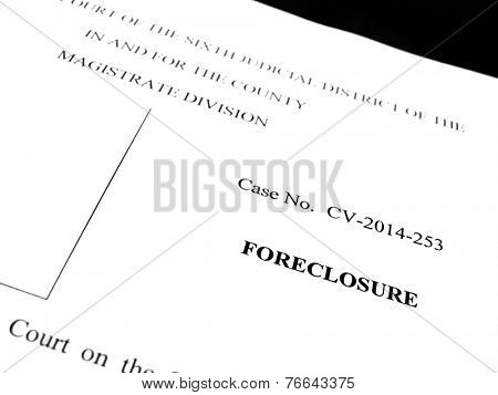 Legal papers for lawsuit of foreclosure on property