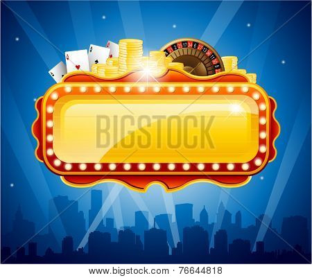 Casino city background vector illustration
