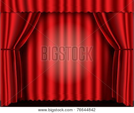 Red velvet theater curtains vector illustration