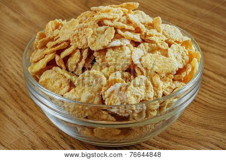 Corn Flakes In A Glass Bowl