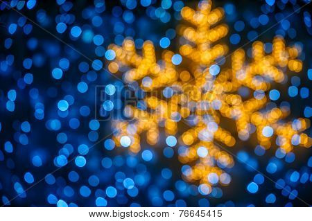 Blurred Snowflake And Lights Background