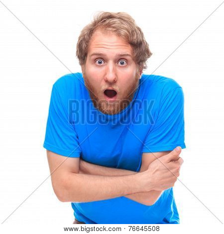 Portrait Of Shocked Man With Opened Mouth