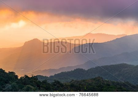 sunrise in the moutain, doi inthanon ,chiang mai , Thailand