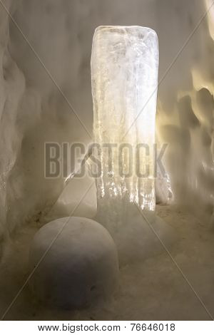 Icicles In The Snow Cave