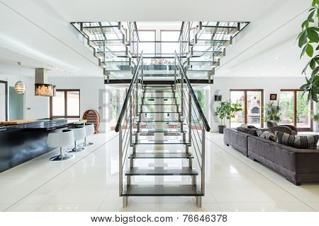 Modern Stairs In Luxury Apartment