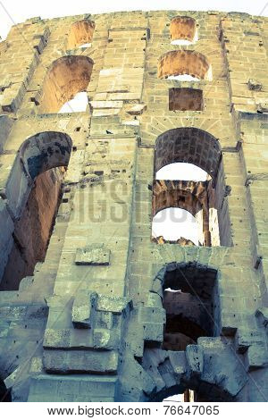 El Jem Coliseum Ruins In Tunisia Fighting Gladiator