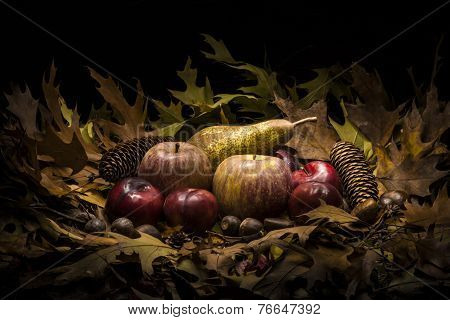 Autumnal Still Life Composition With Apples, Pear And Prunes