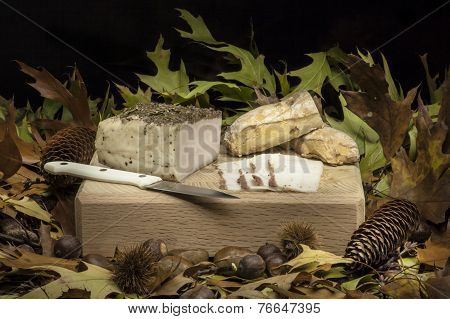 Autumnal Still Life Composition With Lard And Bread