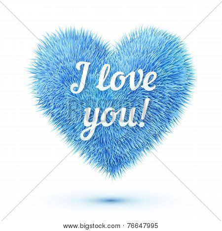 Blue fluffy heart with I love you sign