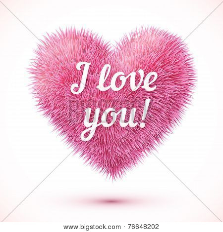 Pink fluffy heart with I love you sign