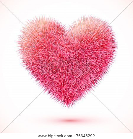 Red fluffy vector heart