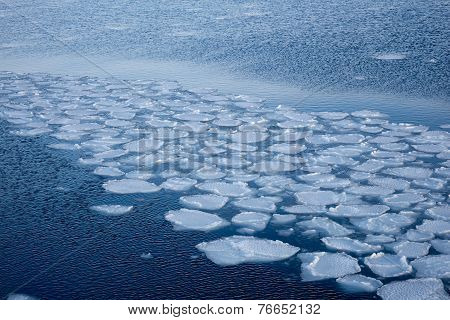 Natural Ice Blocks Breaking Up Against Shore And Sea Ice During Freezing Winter Weather. Fast Ice.