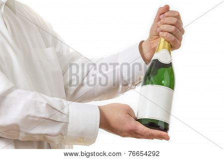Waiter Presenting A Botle Of Champagne