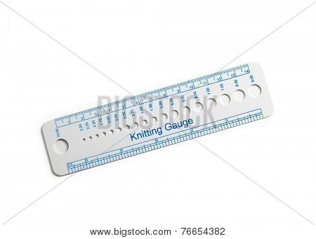 White  gauge ruler for measuring knitting gauge