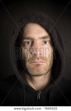 Gritty Hooded Man