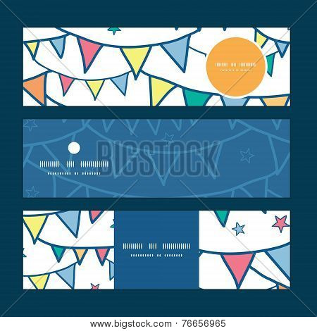 Vector colorful doodle bunting flags horizontal banners set pattern background
