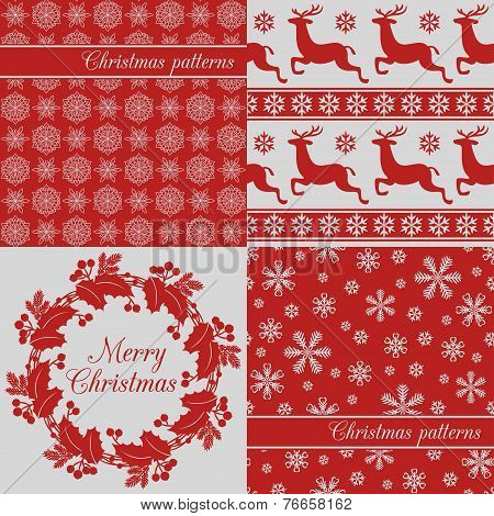 Set of Christmas seamless backgrounds, red