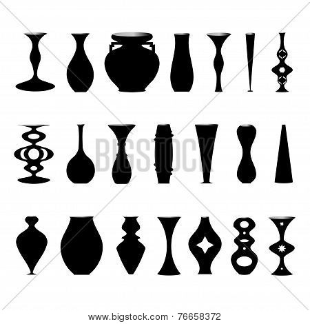 Illustration Set Of Silhouettes Of Vases